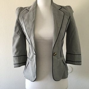 Roberto Cavalli Greyish Black Trimming Blazer 38IT